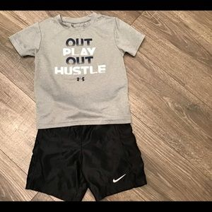 😍 BOYS UNDER ARMOUR SHIRT and NIKE SHORTS